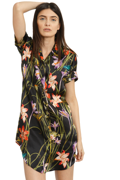 The Silk Shirt Dress + Botanica Black