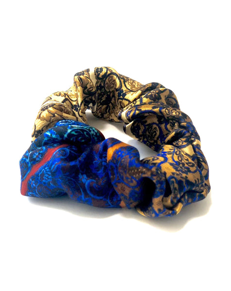 Printed Silk Hair Scrunchie + Golden Boho