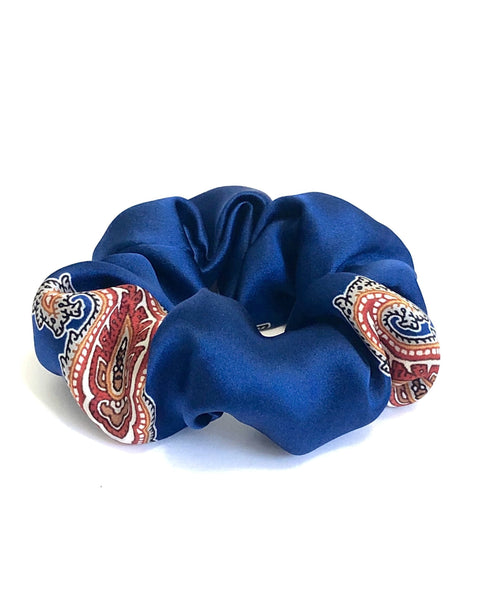 Printed Silk Hair Scrunchie + Royal Paisley