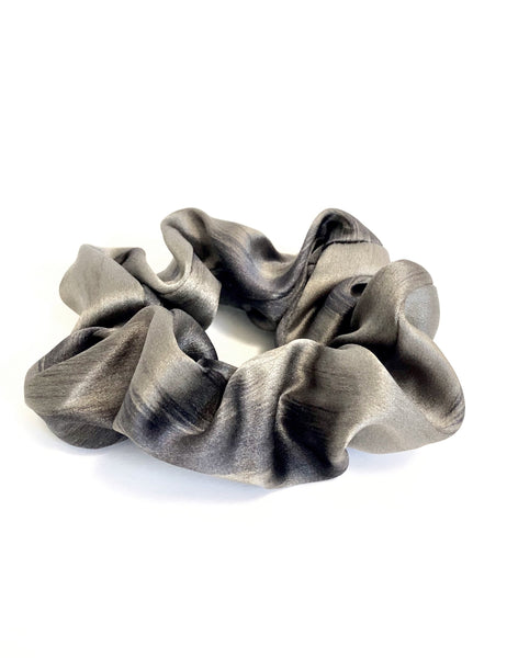 Printed Silk Hair Scrunchie + Grey Leopard