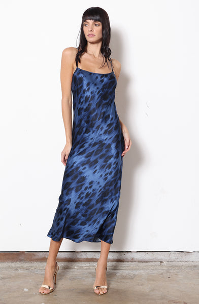 Midi Slip Dress + Blue Kitty Stretch Silk