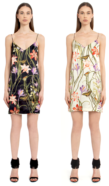 The Reversible Silk Slip + Botanica Black/Botanica Ivory