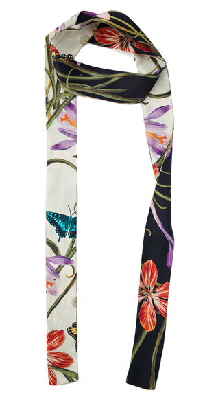 The Reversible Silk Skinny Scarf + Botanica Black/Botanica Ivory