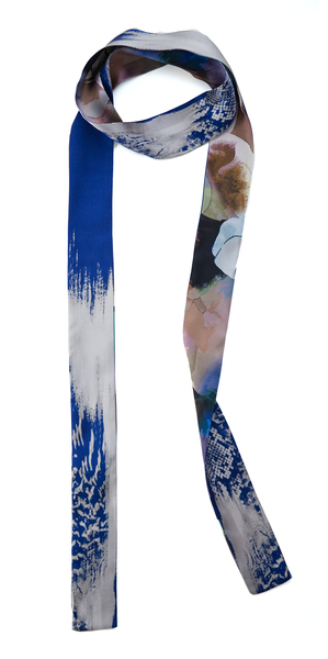 The Reversible Silk Skinny Scarf + Floral Abyss/Venom Blue
