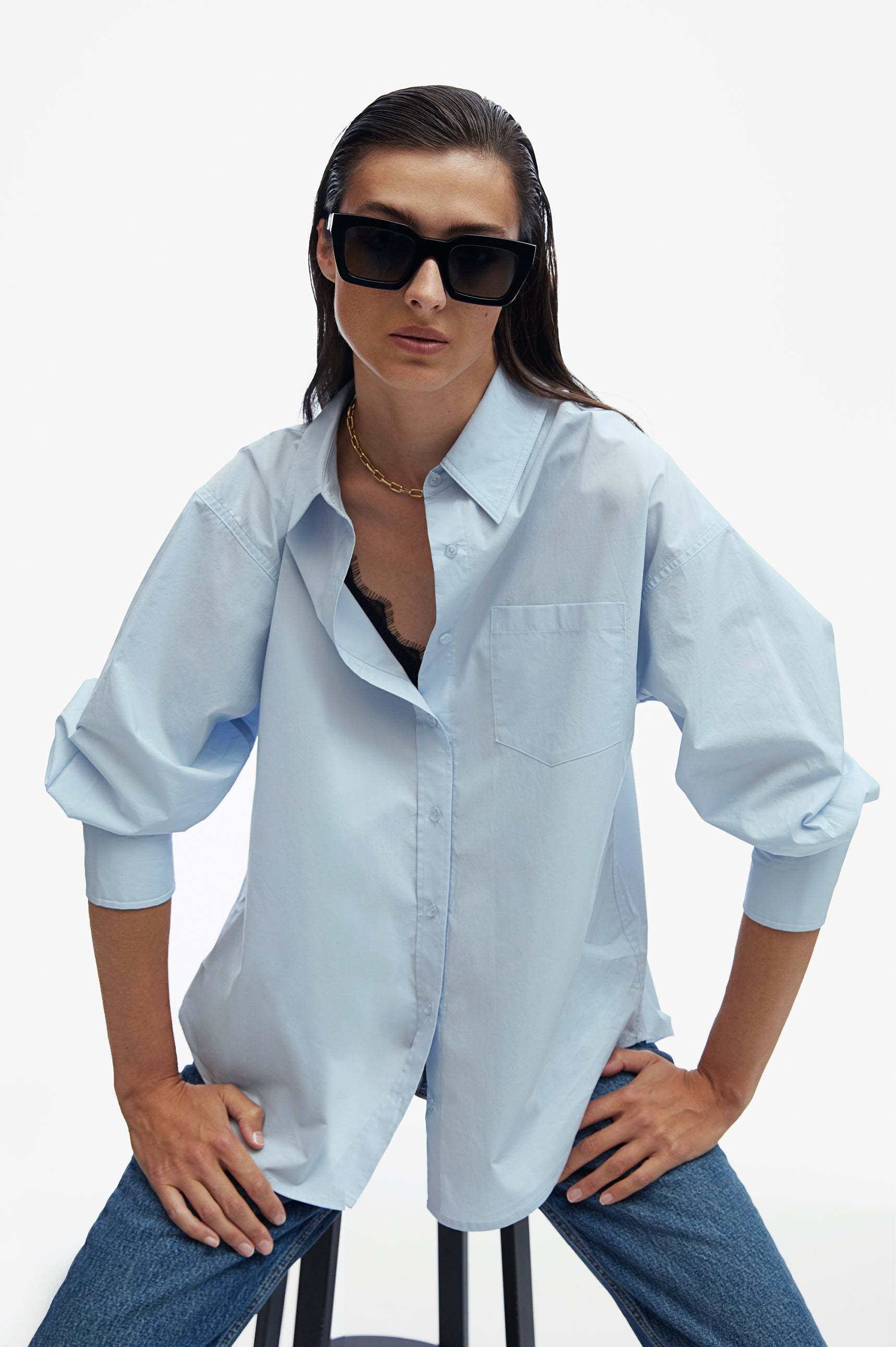 "<p><a href=""/products/mika-shirt-blue"" title=""Mika Shirt - Blue"">MIKA SHIRT IN BLUE</a> +<a href=""https://aninebing.myshopify.com/products/levi-sunglasses-navy"" title=""Levi Sunglasses - Navy""> </a><a href=""/products/levi-sunglasses-navy"" title=""Levi Sunglasses - Navy"">LEVI SUNGLASSES IN NAVY</a><a href=""/products/levi-sunglasses-navy"" title=""Levi Sunglasses - Navy""> </a></p>"