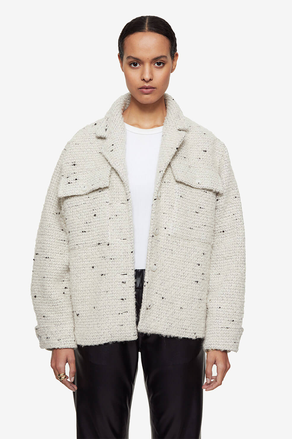 Leon Jacket - White Tweed