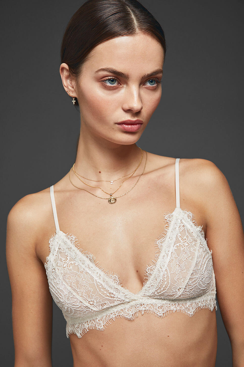 37c4118904be ANINE BING Lace Bra with Trim - Nude