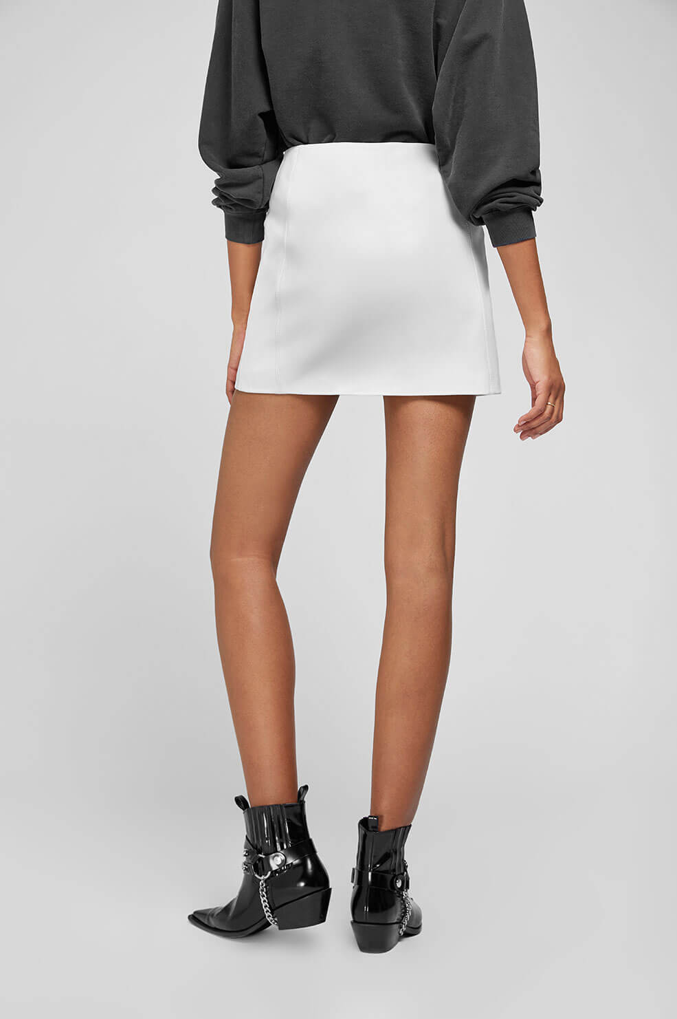 ANINE BING Sally Leather Skirt - White