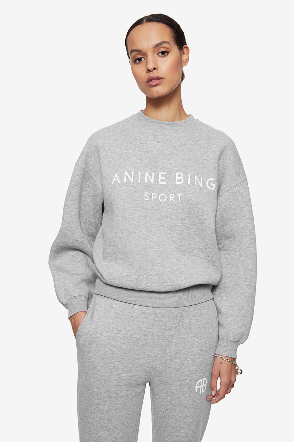 ANINE BING Evan Sweatshirt - Heather Grey