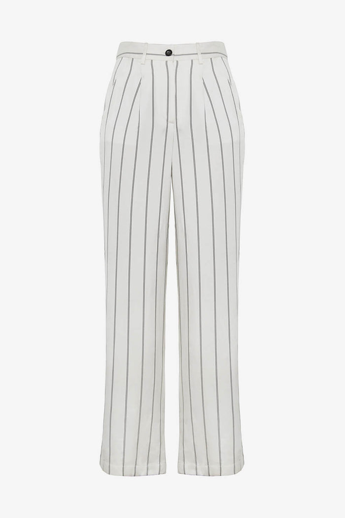 ANINE BING Ryan Trousers - Cream And Black Stripe