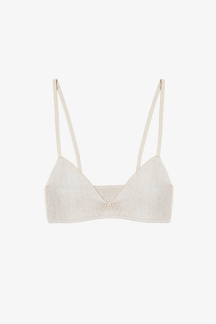 ANINE BING Cora Bra - Ivory And Camel