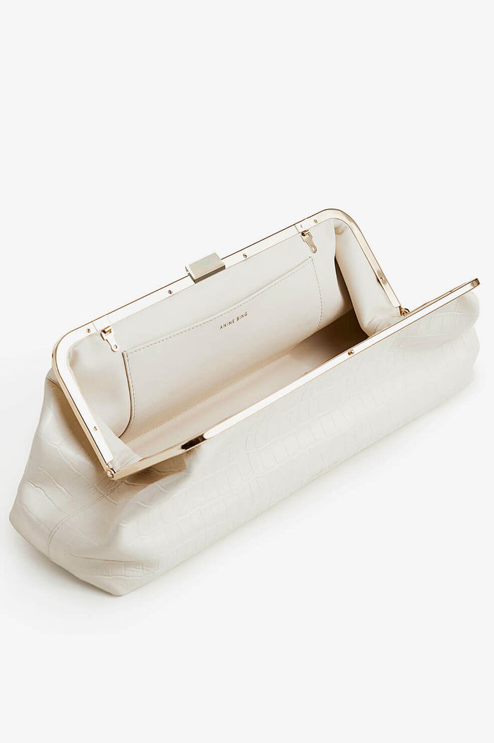 ANINE BING Kiara Clutch - Off White Croco