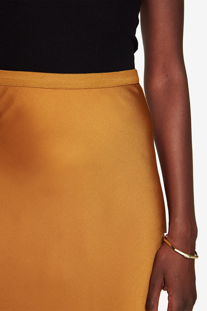 ANINE BING Bar Silk Skirt - Bronze