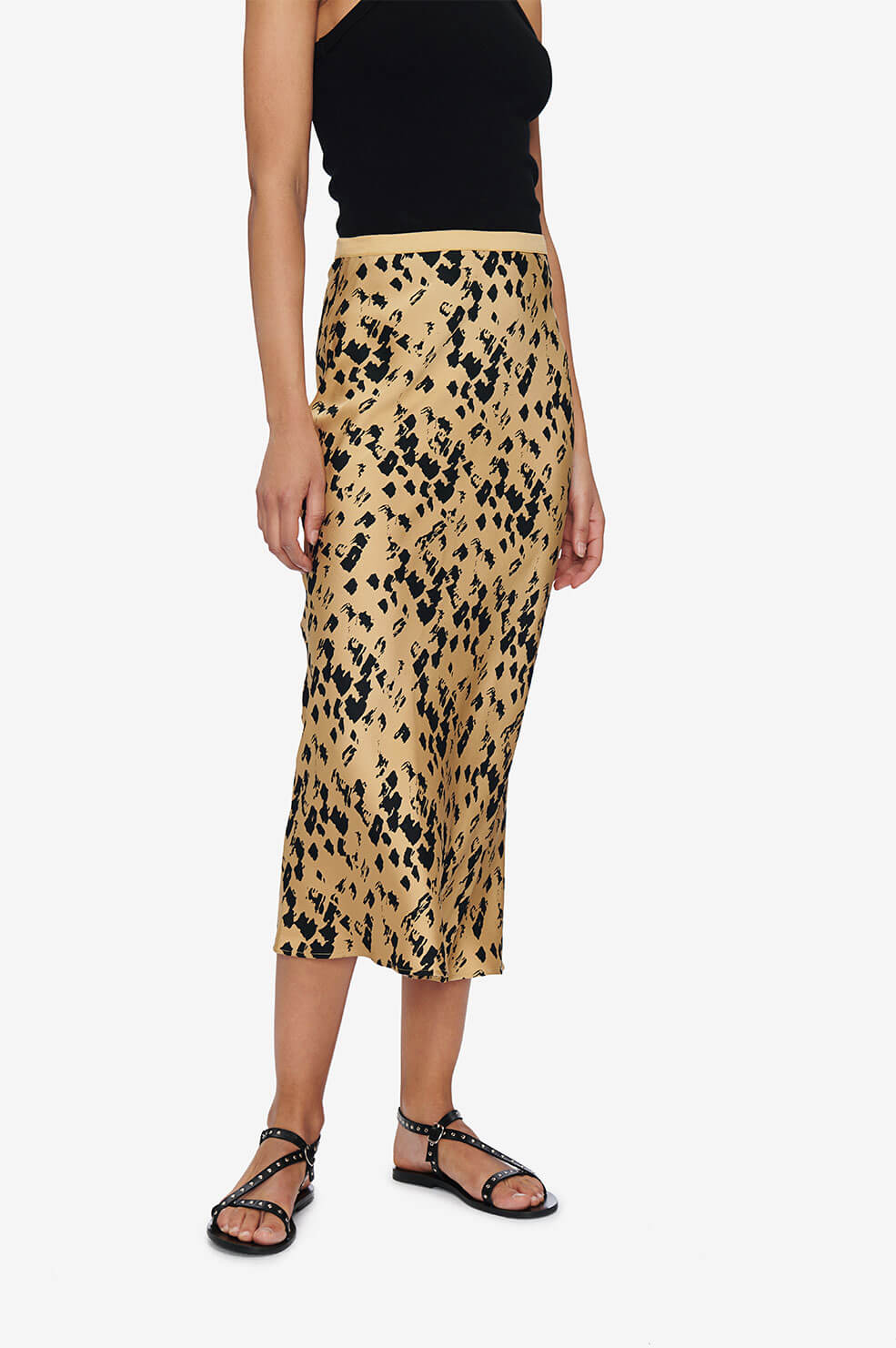 ANINE BING Bar Silk Skirt - Painterly Leo