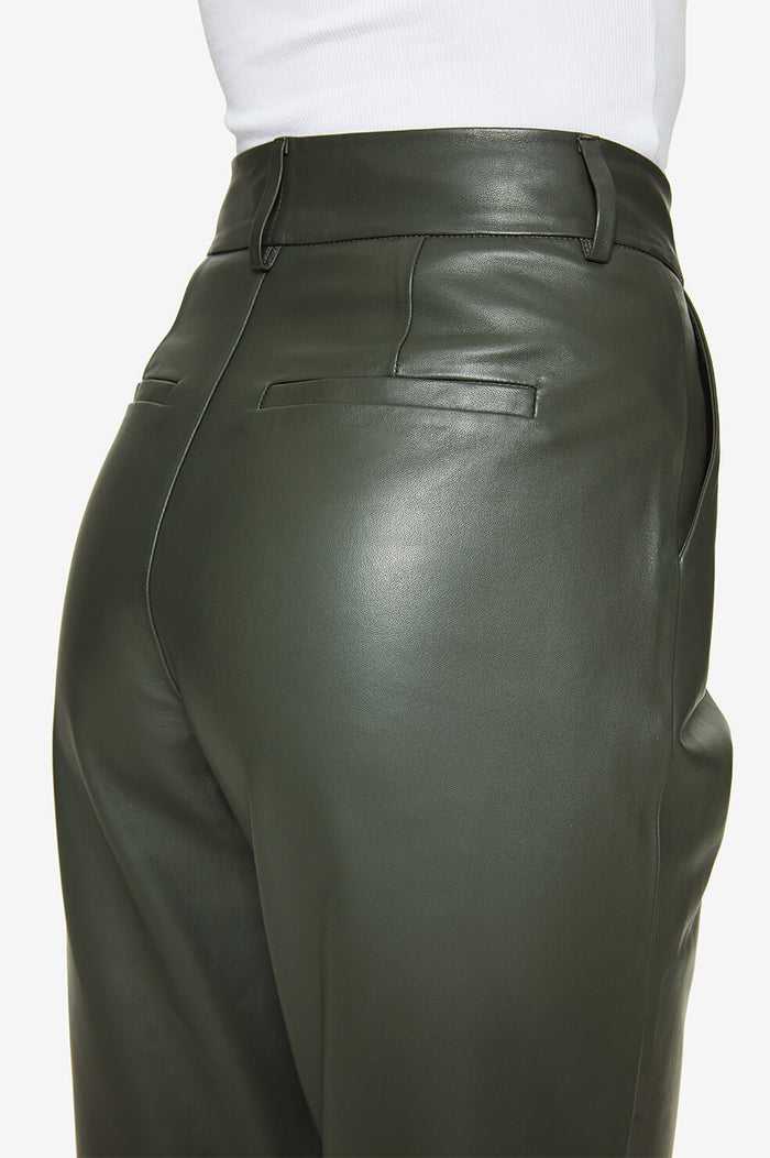 ANINE BING Becky Leather Trouser - Green