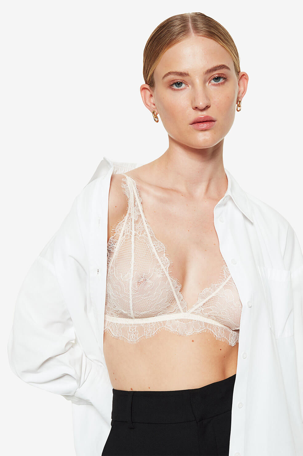ANINE BING Delicate Lace Bra - Nude Pink
