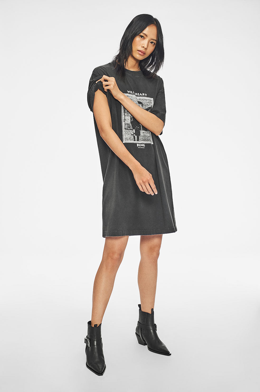 ANINE BING Harley Mohawk Tee Dress - Washed Black