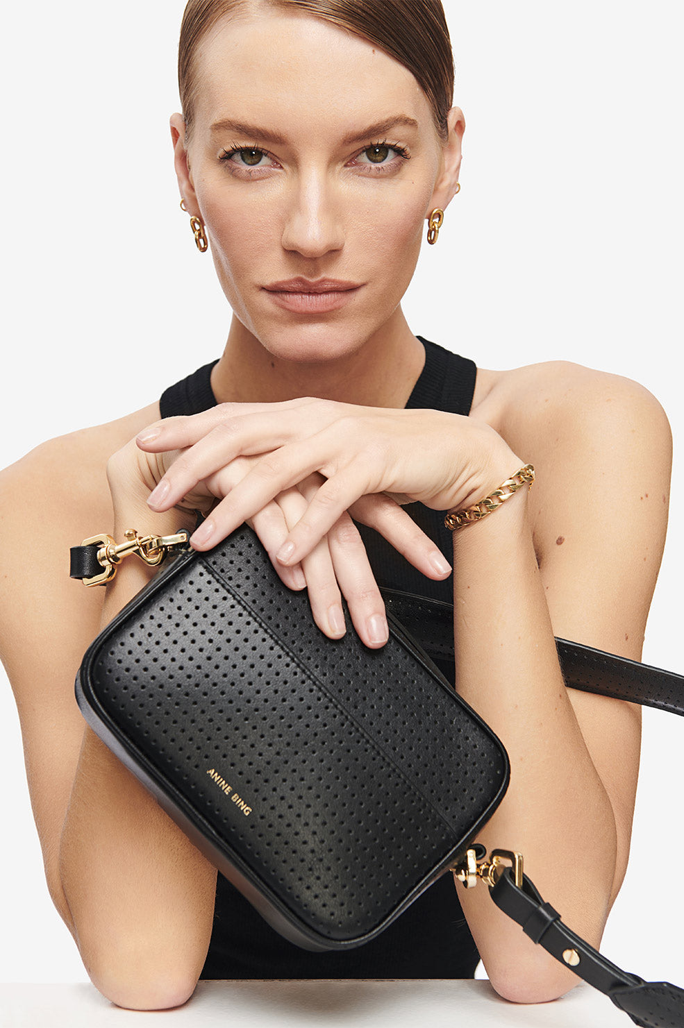 ANINE BING Mini Alice Bag - Perforated Black