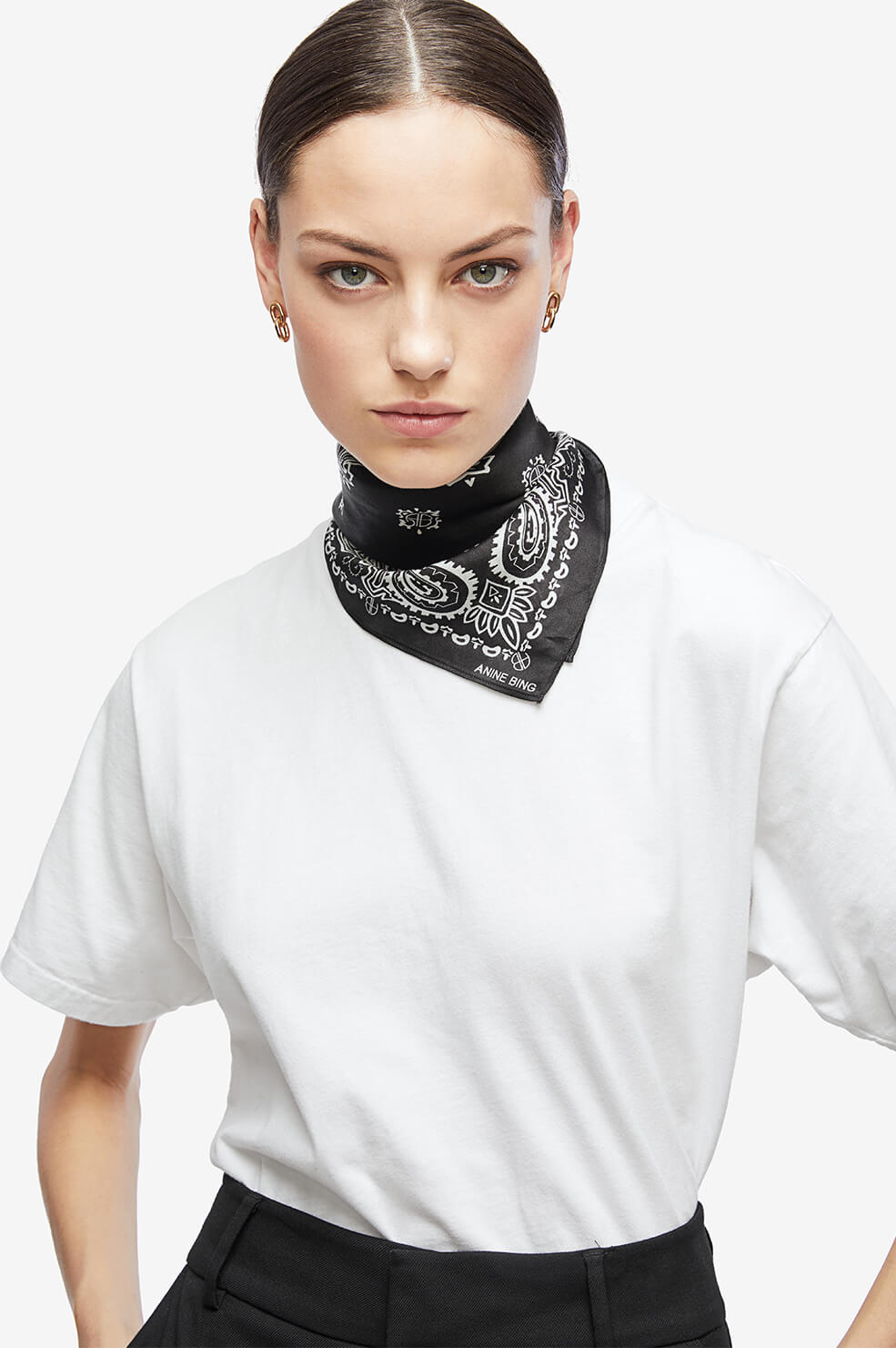 ANINE BING Arizona Scarf - Cream And Black