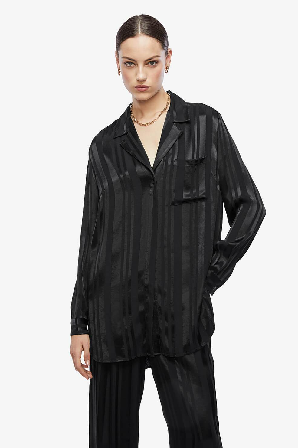 ANINE BING Ash Shirt - Black Tonal Stripe