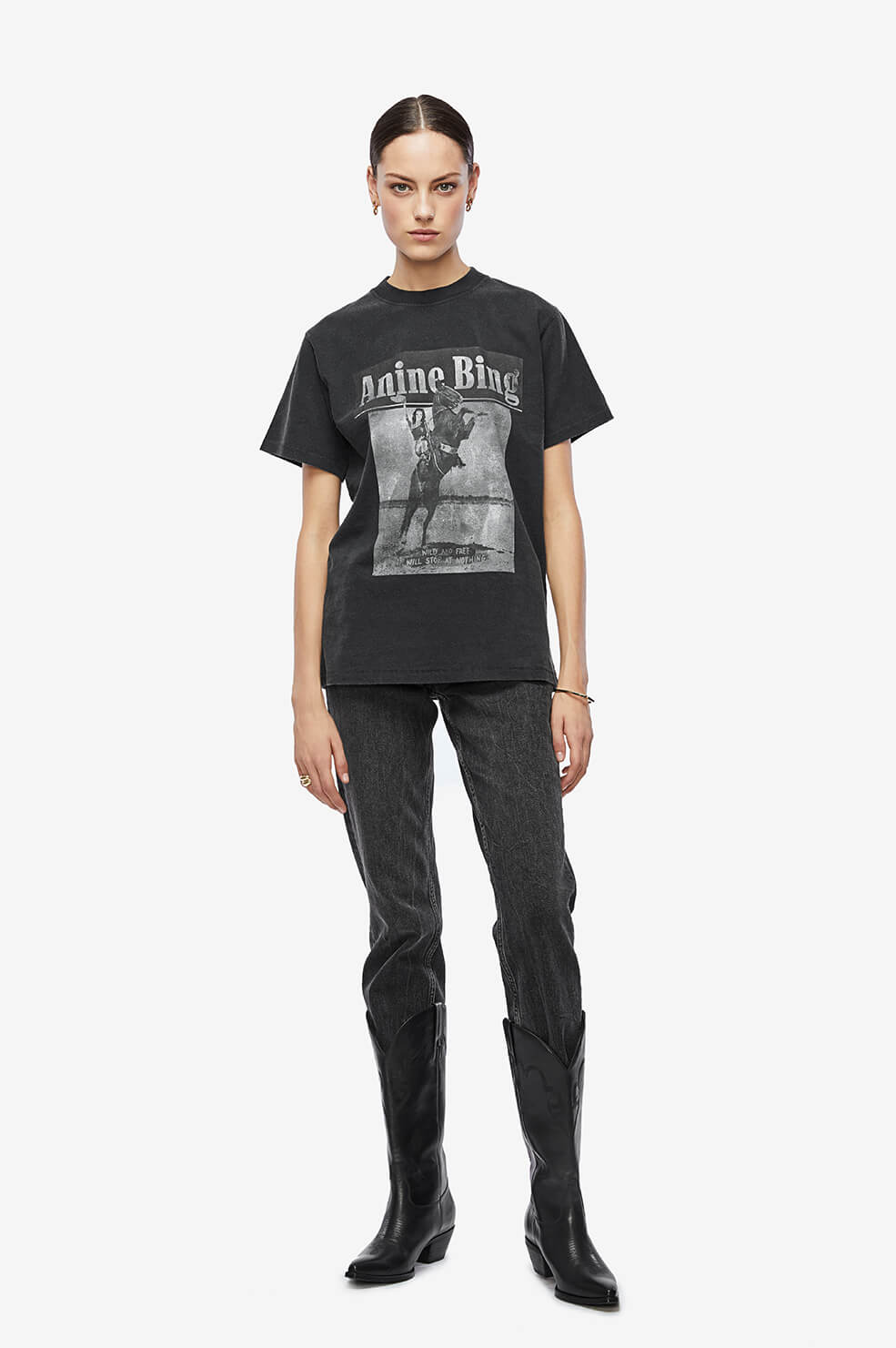 ANINE BING Lili Tee Wild And Free - Washed Black