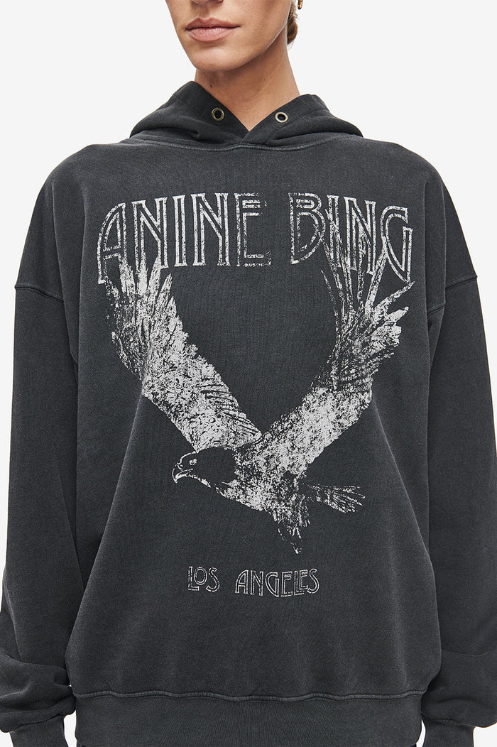 ANINE BING Rowe Hoodie Eagle - Washed Black