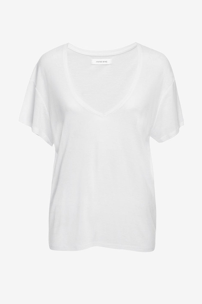 ANINE BING Deep Vneck T-shirt - White