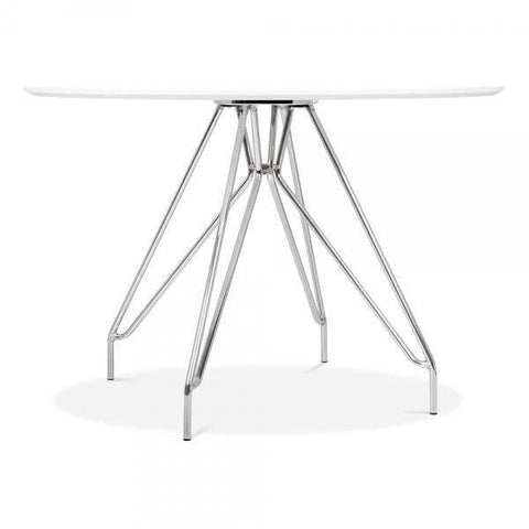White Modern Metal Legs Dining Table