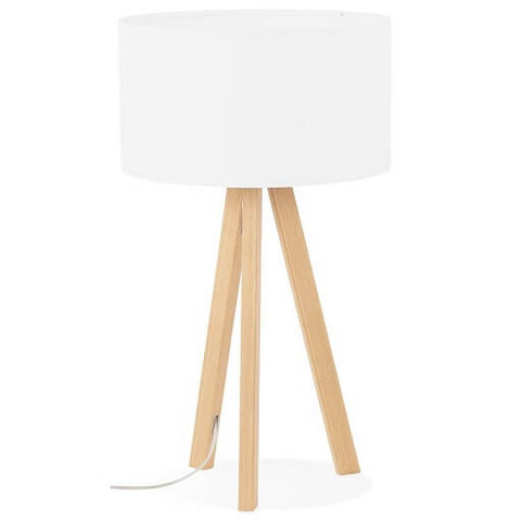 White & Natural Trivet Table Lamp