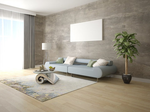 living room with white floor lamp