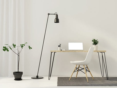 minimal home study with floor lamp