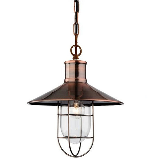 Antique Copper Crescent Pendant Light