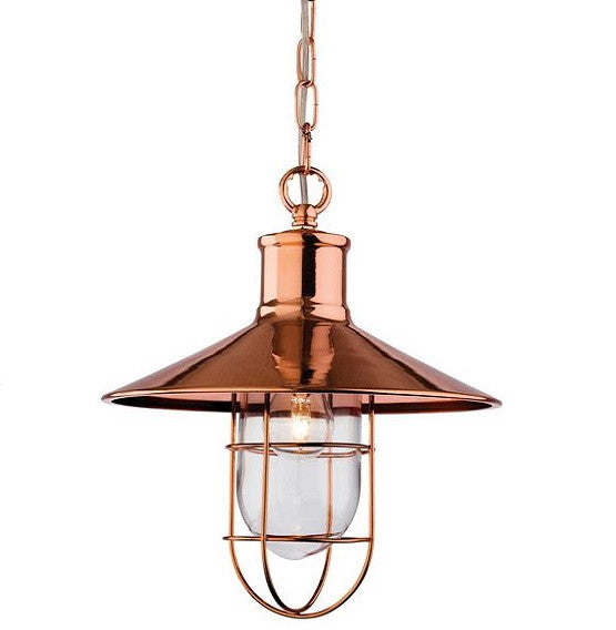Copper Crescent Pendant Light