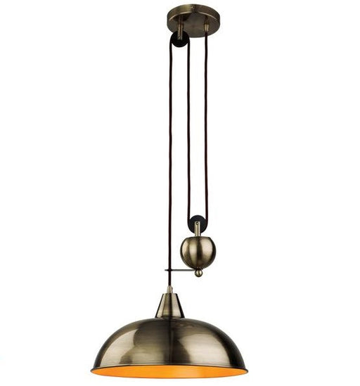 Antique Brass Century Rise & Fall Pendant Light