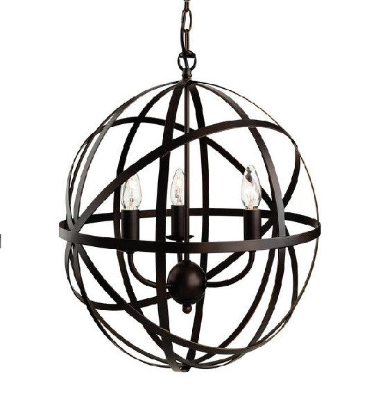 Antique Brown Castle 3 Light Pendant