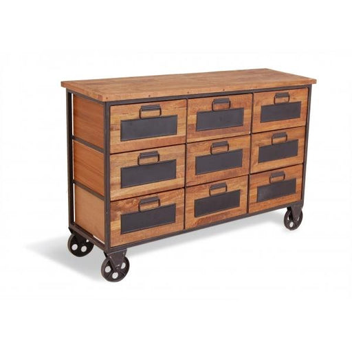 Wooden Apothecary Chest of 9 Draws on Wheels