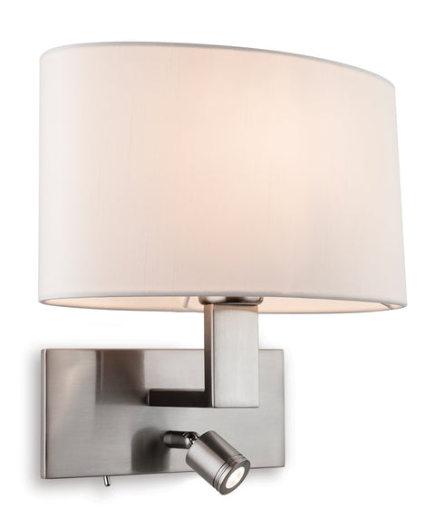 Brushed Steel Webster 2 Light Wall (Switched)