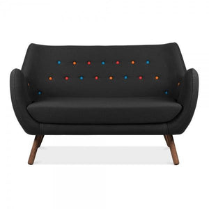 Black / Mulitcolour 2 Seater Sofa