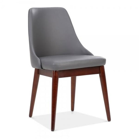 Alexis Dark Grey Faux Leather Upholstered Wooden Dining Chair