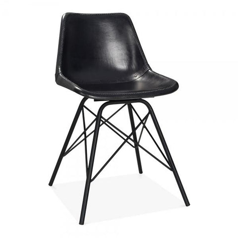 Black Leather Upholstered Industrial Dining Chair
