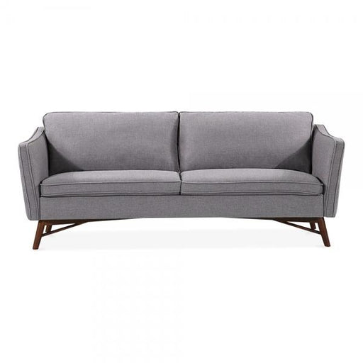 Grey Retro Fabric 3 Seater Sofa