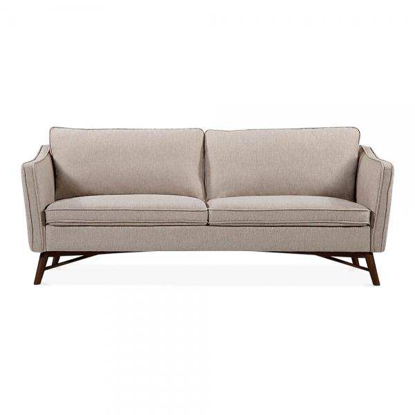 Cream Retro Style Fabric 3 Seater Sofa