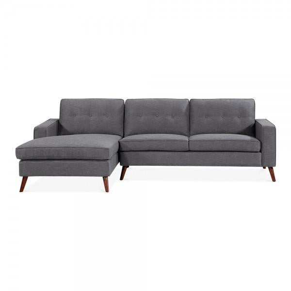 Dark Grey Vintage Styled Left Hand Corner 3 Seater Sofa