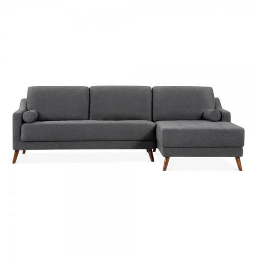 Dark Grey Retro Styled Right Hand Corner 3 Seater Sofa