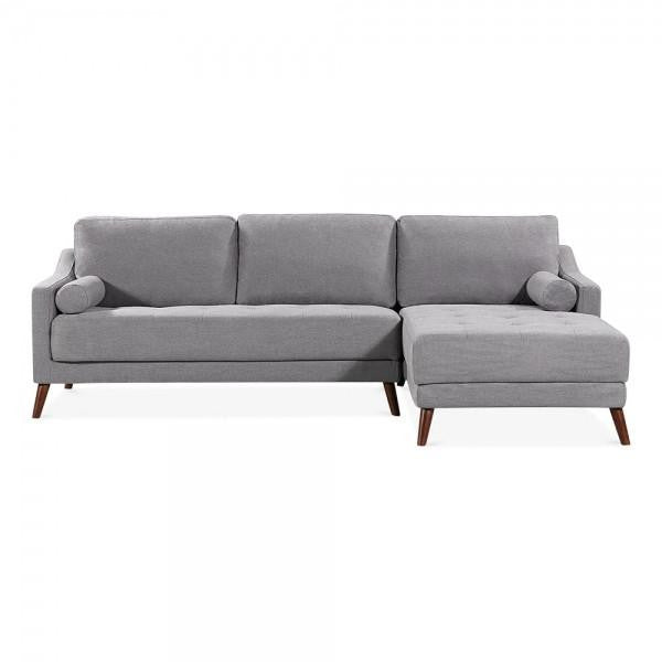 Light Grey Retro Styled Right Hand Corner 3 Seater Sofa