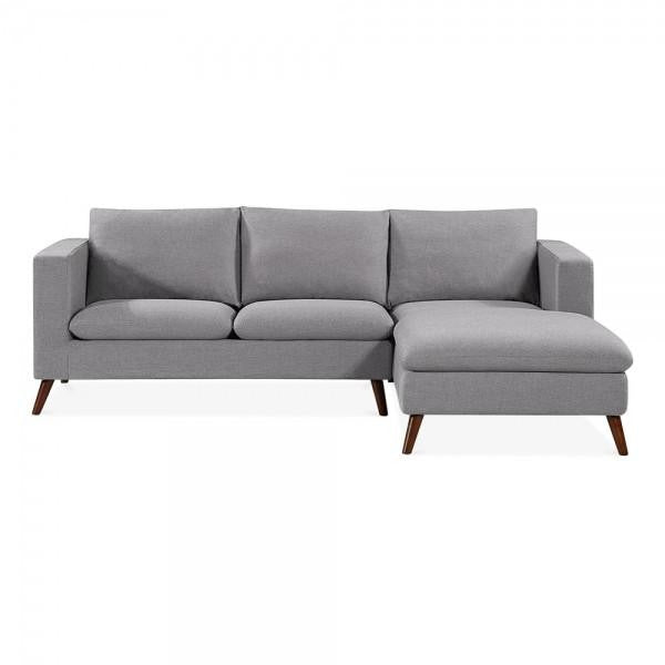 Light Grey Modern Right Hand Corner 3 Seater Sofa
