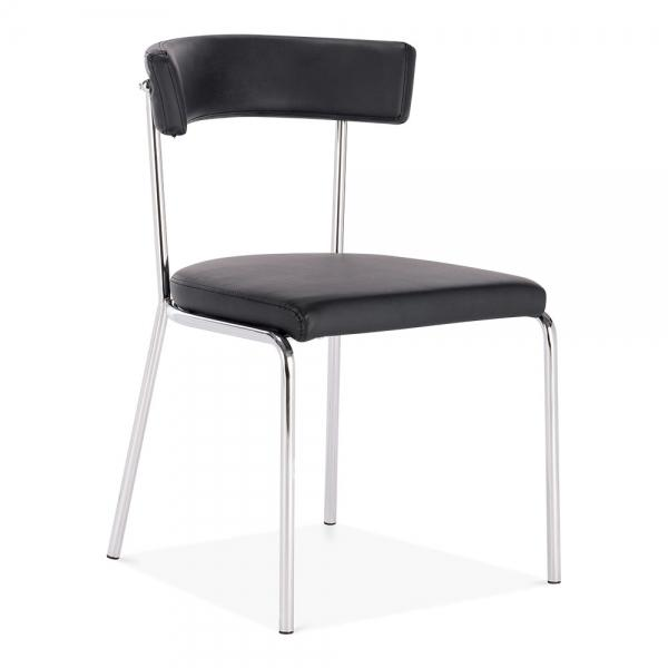 Black Faux Leather Upholstered Chrome Metal Dining Chair