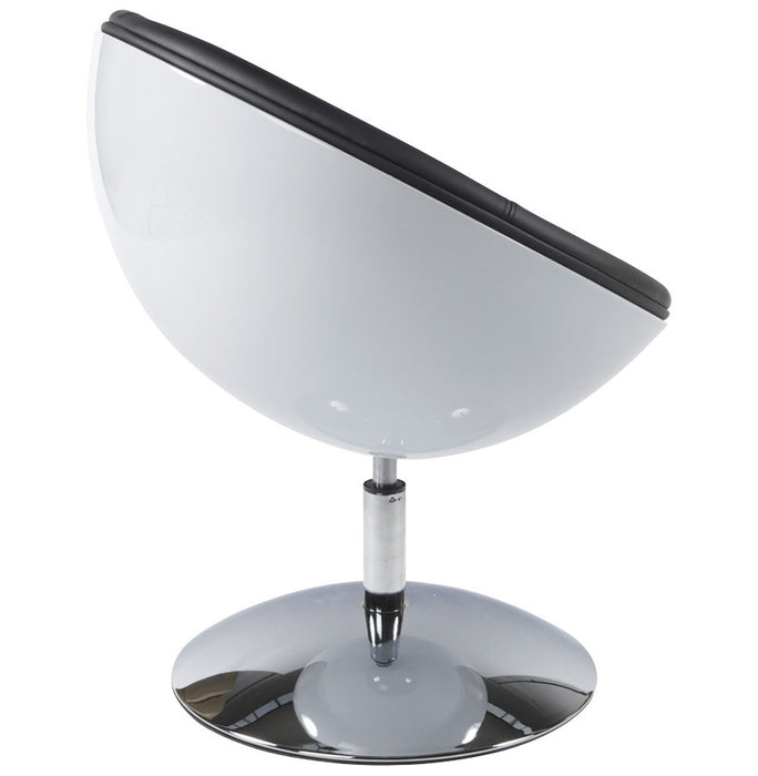 White and Black Retro Kokoon Sphere Chair AC00420WHBL