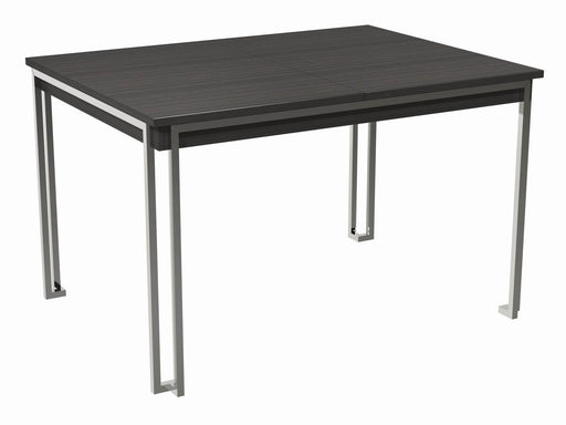 Black & Chrome Stained Oak Veneer Extending Dining Table