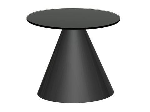 Black Glass Circular Side Table